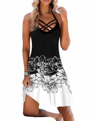 Women\'s Strap Dress Short Mini Dress Blue White Sleeveless Multi Color Hollow Out Spring Summer Strap Casual Sexy 2021 S M L XL XXL XXXL 4XL 5XL