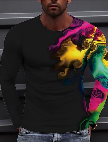 Bărbați Unisex Tricouri Tricou Cămașă Tipărire 3D Imprimeu Grafic Redare Imprimeu Manșon Lung Zilnic Topuri Casual Designer Mare si inalt Negru