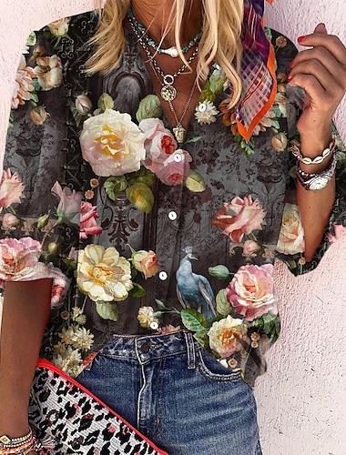 여성용 꽃 테마 3D 블라우스 셔츠 플로럴 3D 긴 소매 단추 프린트 스탠딩 카라 베이직 캐쥬얼 탑스 푸른 옐로우 그레이