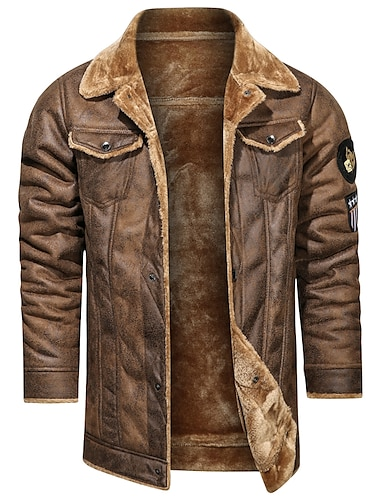 رجالي جاكيت مناسب للبس اليومي الشتاء عادية معطف عادي الدفء رياضي جاكتس كم طويل لون الصلبة منقش أصفر كاكي أسود