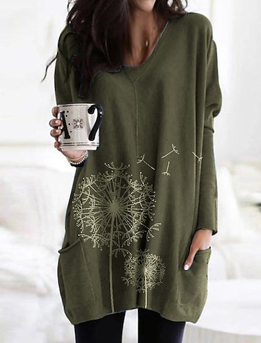women\'s shift dress knee length dress blue fuchsia grey khaki green dark grey long sleeve print patchwork fall spring v neck casual 2021 s m l xl xxl 3xl 4xl 5xl loose