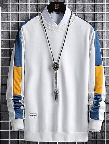 رجالي كنزة صوفية ألوان متناوبة بقع رقبة دائرية مناسب للبس اليومي مناسب للخارج كاجوال هوديس بلوزات كم طويل نحيل أزرق أصفر أبيض