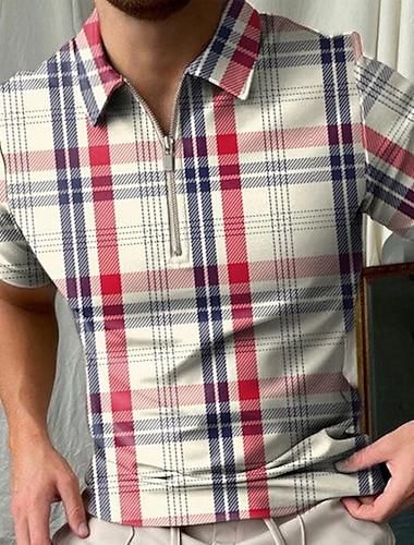 Herren Golfhemd Verziert Reissverschluss Kurzarm Strasse Oberteile Sportbekleidung Freizeit Modisch Komfortabel Khaki