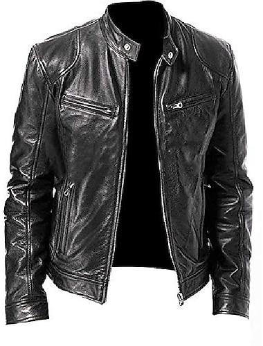 Miesten Syksy Kevät Takki Vintage Jackets Musta musta Ruskea ruskea / Tekonahka