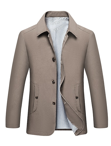 Bărbați Jachetă Afaceri Zilnic Toamnă Primăvară Regulat Palton Fit regulat Termic cald Respirabil Elegant Jachete Manșon Lung Culoare solidă Bufantă Galben Kaki Negru / Bumbac