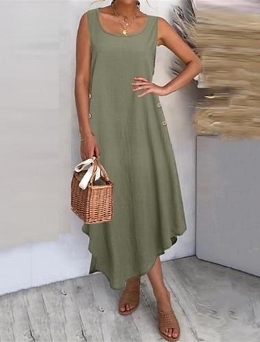 Women\'s Shift Dress Knee Length Dress Wine Army Green Black Sleeveless Solid Color Button Summer Round Neck Casual 2021 S M L XL XXL 3XL 4XL 5XL / Cotton