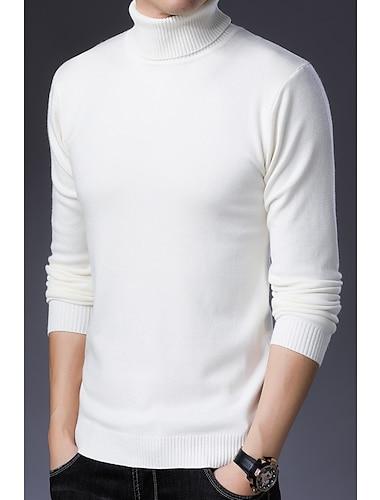 Hombre Pull-over De Punto Color solido Estilo retro Bohemio Manga Larga Cardigans sueter Cuello Alto Otono Invierno Gris Color Camello Blanco