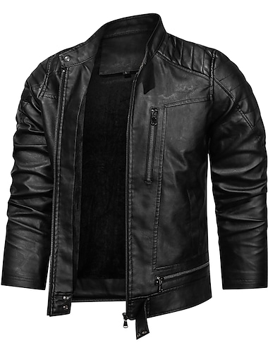 Bărbați Jachetă Zilnic Iarnă Regulat Palton Fit regulat Cald Sportiv Jachete Manșon Lung Culoare solidă Matlasat Negru Roșu-aprins Cafea