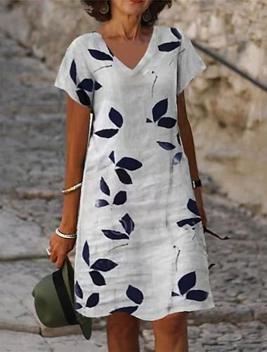 Női A vonalú ruha Térdig érő ruha Szürke Rövid ujjú Virágos Nyomtatott Nyár V-alakú Alkalmi Szabadság 2021 S M L XL XXL 3XL