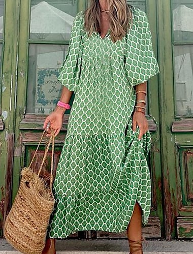 Női A vonalú ruha Maxi hosszú ruha Lóhere Háromnegyedes Mértani Kollázs Nyomtatott Ősz Tavasz V-alakú Alkalmi Boho Szabadság Flare mandzsetta hüvely 2021 S M L XL