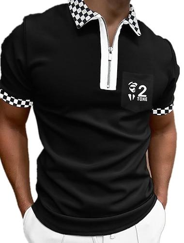 Per uomo Camicia da golf Golf A quadri Cerniera Con stampe Manica corta Strada Top Cotone Abbigliamento sportivo Casuale Di tendenza Comodo Nero / Estate