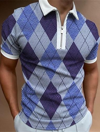 Herren Golfhemd Geometrie Reissverschluss Kurzarm Strasse Normale Passform Oberteile Sportbekleidung Alltag Modisch Komfortabel Blau / Sommer
