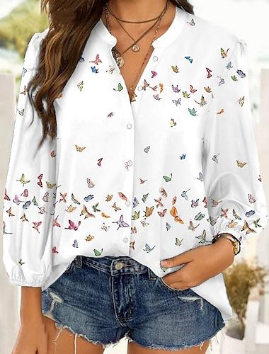 여성용 버터플라이 블라우스 셔츠 버터플라이 동물 긴 소매 단추 프린트 셔츠 카라 캐쥬얼 스트리트 쉬크 탑스 푸른 퍼플 블러슁 핑크