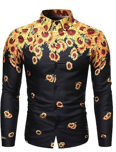 Муж. Рубашка 3D печать Подсолнух 3D печать Кнопка вниз Длинный рукав Для улицы Верхушки На каждый день Мода Дышащий Удобный Черный / Спорт