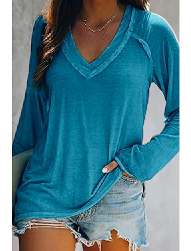 Dámské Tričko Jednobarevné Do V Základní Na běžné nošení Topy Růžová Vodní modrá Šedá