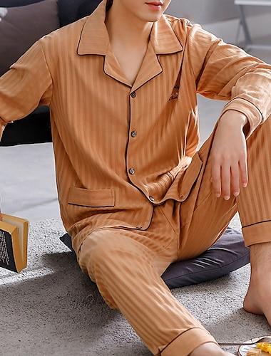 בגדי ריקוד גברים הלבשת כסאות סטים בית אבזם אחיד כותנה יום יומי מכנס אביב קיץ דש שרוול ארוך אבזם / 2 חלקים