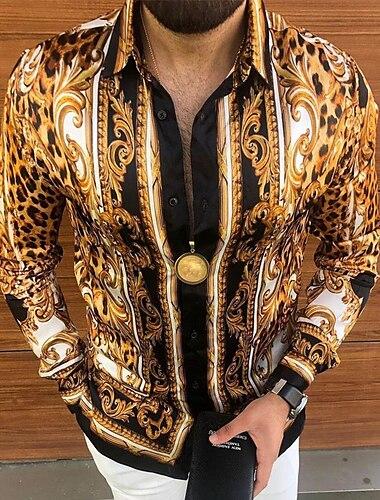 Per uomo Camicia Fantasia floreale Bottone giu Con stampe Manica lunga Strada Top Casuale Di tendenza Traspirante Comodo Oro / Autunno / Inverno