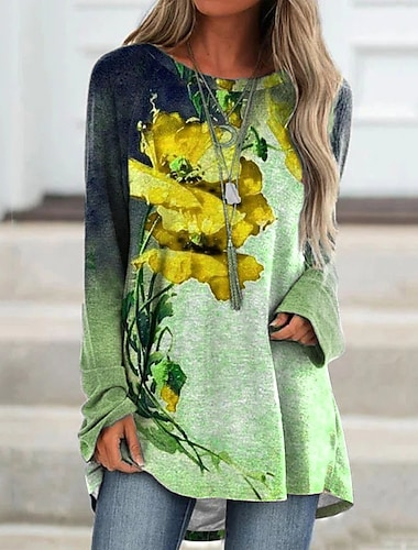 Dámské Úpletové šaty Krátké mini šaty Vodní modrá Fialová Žlutá Trávová zelená Rubínově červená Dlouhý rukáv Květinový Tisk Podzim Kulatý Na běžné nošení 2021 S M L XL XXL 3XL 4XL 5XL