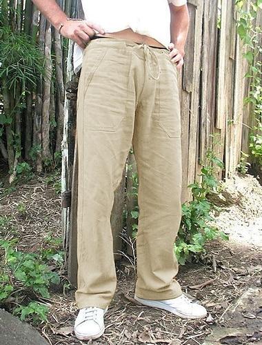 férfi alkalmi nadrág könnyű húzózsinór derék nadrág egyenesen lélegző jóga tornaterem nyári nadrág sötét khaki
