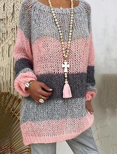 Γυναικεία Πουλόβερ Πλεκτό Συνδυασμός Χρωμάτων Στυλάτο Μακρυμάνικο Πουλόβερ ζακέτες Στρογγυλή Ψηλή Λαιμόκοψη Φθινόπωρο Χειμώνας Ανθισμένο Ροζ