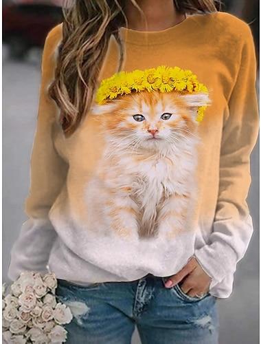 여성용 맨투맨 스웻티셔츠 풀오버 고양이 3D 동물 프린트 일상 스포츠 3D 인쇄 활동적 스트리트 쉬크 후드 스웨트 셔츠 퍼플 옐로우