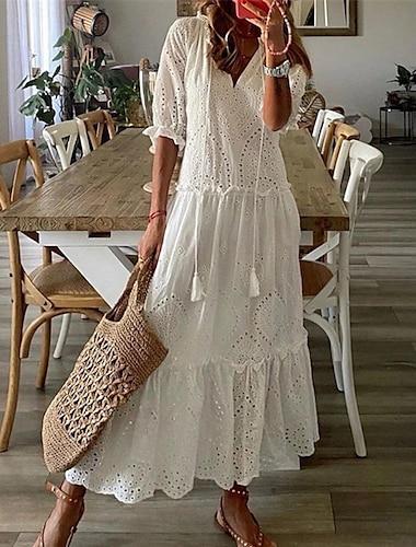 여성용 스윙 드레스 맥시 드레스 푸른 화이트 루비 반 소매 플로럴 한 색상 프린트 가을 V 넥 캐쥬얼 보통 2021 S M L XL XXL