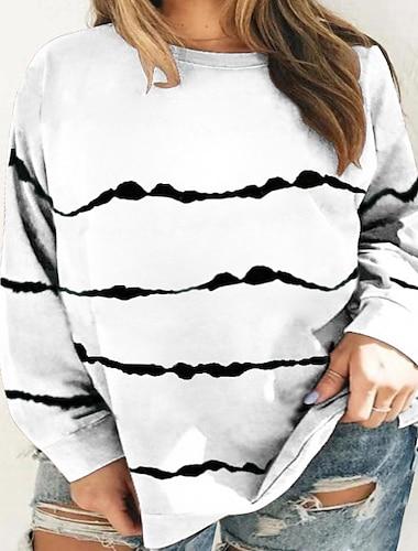 여성용 플러스 크기 탑스 T 셔츠 줄무늬 프린트 긴 소매 라운드 넥 큰 사이즈 / 플러스 사이즈 / 플러스 사이즈