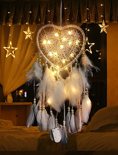 Hollow Love Feather Lamp Creative Lantern Christmas Wedding Holiday Living Room Room Balcony Garden Decoration