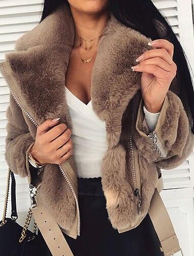 γυναικείο παλτό καθημερινό φθινόπωρο χειμώνα κανονικό παλτό φερμουάρ turndown κανονική εφαρμογή ζεστό κομψό μοντέρνο casual σακάκι μακρύ μανίκι μονόχρωμο καπιτονέ καμηλό