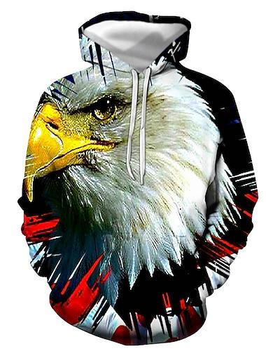 Men\'s Pullover Hoodie Sweatshirt Graphic Eagle Print Hooded Casual Daily 3D Print Casual Streetwear Hoodies Sweatshirts  Long Sleeve Blue Royal Blue White
