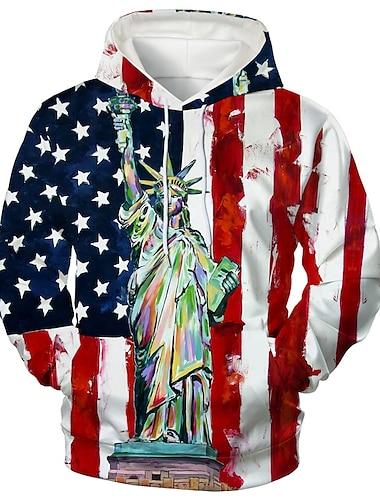 Herr Unisex Tröja med tröja Grafiska tryck Amerikanska flaggan Mönster Huva Dagligen Sport 3D-tryck 3D-tryck Ledigt Pull Tröjor Långärmad Rubinrött