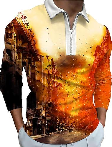 Męskie Koszula golfowa Druk 3D Wysoki budynek Druk 3D Zamek Długi rękaw Ulica Regularny Najfatalniejszy Odzież sportowa Codzienny Moda Wygodny Pomarańczowy