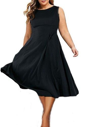 Női Molett Ruha Swing ruha Midi ruha Ujjatlan Tömör szín Fodrozott Alkalmi Nyár Fekete L XL XXL 3 XL 4 XL / Normál / Extra méret / Extra méret