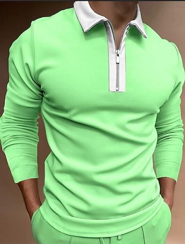 Муж. Рубашка для гольфа Сплошной цвет Молния Длинный рукав Для улицы Стандартный Верхушки Хлопок Спортивная одежда На каждый день Мода Удобный Зеленый / Осень / Зима