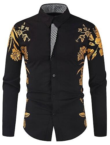 Муж. Рубашка Графика Длинный рукав Повседневные Верхушки Мода Классика Белый Черный Красный
