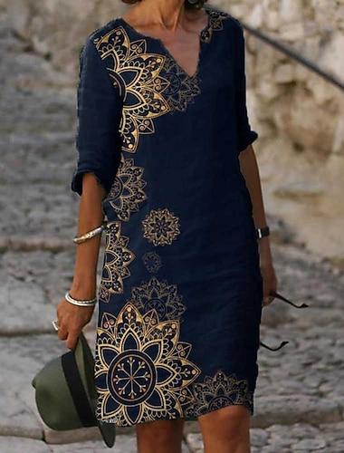 Γυναικεία Φόρεμα ριχτό Φόρεμα μέχρι το γόνατο Θαλασσί Μισό μανίκι Φλοράλ Στάμπα Άνοιξη Καλοκαίρι Λαιμόκοψη V καυτό Κομψό φορέματα διακοπών Φαρδιά 2021 M L XL XXL 3XL