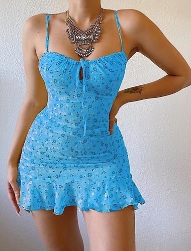 Γυναικεία Φόρεμα για τον ήλιο Μίνι φόρεμα Θαλασσί Κίτρινο Ανθισμένο Ροζ Λευκό Ρουμπίνι Αμάνικο Φλοράλ Εξώπλατο Με Βολάν Στάμπα Καλοκαίρι κρύος ώμος Στυλάτο Βασικό Σέξι Αργίες Κανονικό 2021 Τ M L XL
