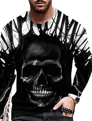 Per uomo Unisex maglietta Stampa 3D Stampe astratte Teschi Con stampe Manica lunga Quotidiano Standard Top Casuale Originale Grande e alto Nero
