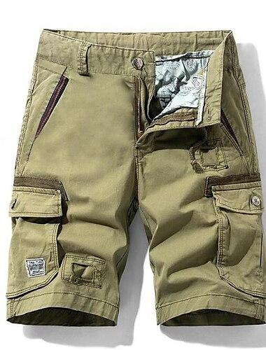 Homme Decontracte / Sport Shorts Cargo Chino Pantalon cargo Mince Pantalon Mosaique Couleur Pleine Vert Veronese Kaki Noir Gris Fonce