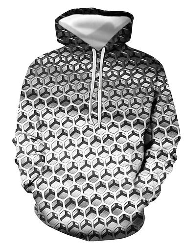 Herre Pullover-hættetrøje Grafisk Geometrisk Trykt mønster Hætte Afslappet Daglig 3D-udskrivning Afslappet Gade Hættetrøjer Sweatshirts Langærmet Grå Guld Sort