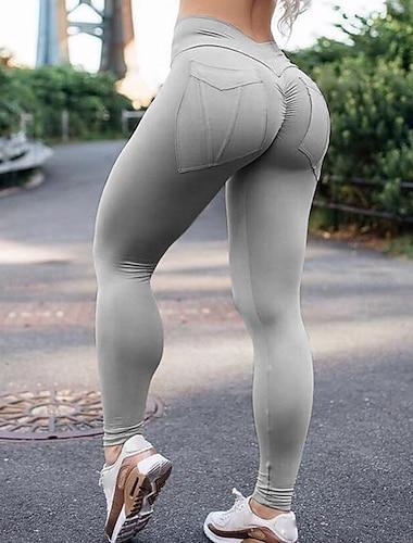 Women\'s High Waist Yoga Pants Scrunch Butt Ruched Butt Lifting Tights Leggings Bottoms Tummy Control Butt Lift 4 Way Stretch Fashion Yellow Gray Khaki Spandex Fitness Gym Workout Running Winter Sports