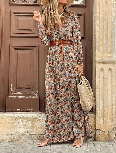 Women\'s A Line Dress Maxi long Dress Red Brown Dark Blue Long Sleeve Floral Color Block Split Ruffle Print Fall Winter V Neck Elegant Casual Vintage 2021 S M L XL XXL
