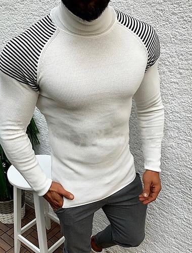رجالي للجنسين جاكيت صوف محبوك مخطط أنيق نمط عتيق كم طويل بالأزرار سترة رقبة عالية الخريف الشتاء أبيض أسود
