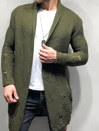 Hombre Unisexo Cardigan De Punto Color solido Elegante Estilo retro Manga Larga Cardigans sueter Cuello Camisero Otono Invierno Verde Ejercito Negro Azul Marino