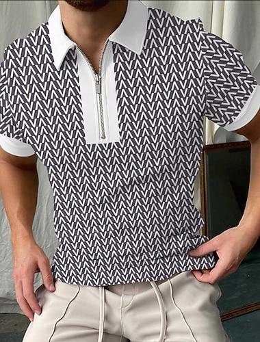 Herre Golftrøje Geometri Lynlås Trykt mønster Kortærmet Gade Toppe Sportstøj Afslappet Mode Åndbart Sort