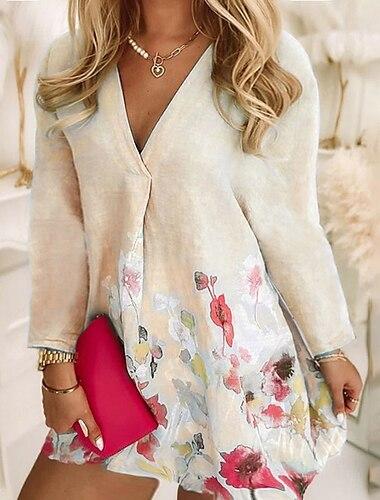 Γυναικεία Συν μέγεθος Φόρεμα Φόρεμα σε γραμμή Α Μίνι φόρεμα Μακρυμάνικο Φλοράλ Στάμπα Καθημερινό Φθινόπωρο Ροζ Ανοικτό Θαλασσί Κίτρινο L XL XXL 3XL 4XL / Μεγάλα Μεγέθη