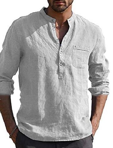 Per uomo Camicia Tinta unica Tasche Manica lunga Strada Top Cotone Casuale Traspirante Quotidiano Henley A V Blu chiaro Rosso bordeaux Grigio / Spiaggia