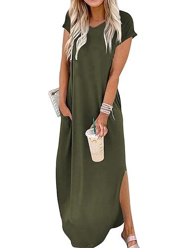 γυναικείο φόρεμα βάρδια maxi μακρύ φόρεμα κρασί armygreen λευκό μαύρο κοντό μανίκι μονόχρωμο τσέπη άνοιξη καλοκαίρι στρογγυλό λαιμό casual 2021 s m l xl xxl xxxl 4xl 5xl