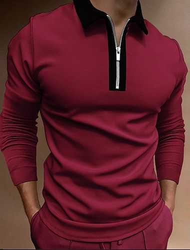 Men\'s Golf Shirt Solid Color Zipper Long Sleeve Street Regular Fit Tops Cotton Sportswear Casual Fashion Comfortable Red / Fall / Winter