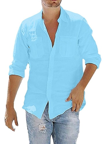 camicia da uomo tinta unita tasca bottone manica lunga street top cotone stile moderno casual moda azzurro navy # grigio / autunno / primavera / estate / spiaggia